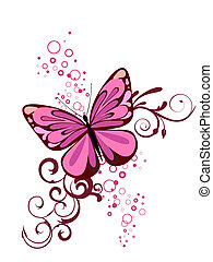 Vector illustration of a colorful butterfly on a floral background