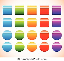 Colorful button, banner shape set