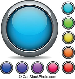 colorful button icon sign set