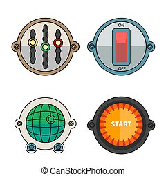 Colorful buttons for different purposes illustrations set