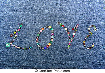 Colorful buttons forming the word 'love'