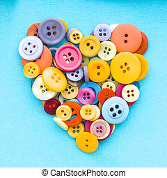 Colorful buttons in the shape of a heart