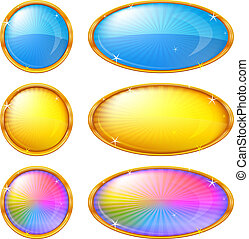 Colorful buttons, set - Buttons collection, round and oval ...