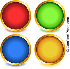 Colorful buttons with gold bevel-set1