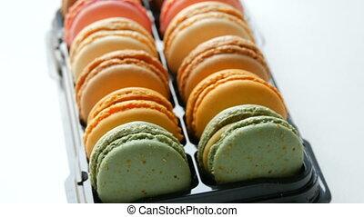 Colorful cake macaroon in gift box - Colourful cake macaroon...