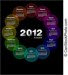 Colorful calendar 2012 in spanish. Week starts on sunday.