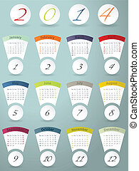 Colorful calendar design for 2014