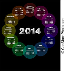 Colorful calendar for 2014. Week starts on sunday - Also available in Spanish .