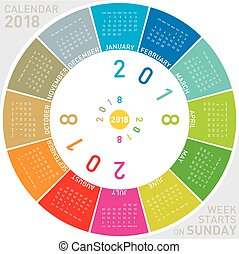 Colorful calendar for 2018. Circular design. Week starts on...