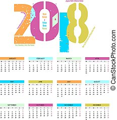 Colorful calendar for the new year - 2018 - cheerful and...