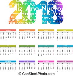 Colorful calendar for the new year - 2018