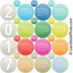 Colorful Calendar for year 2017 in a circles theme, in...