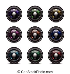 Colorful Camera Lens Isolated on White Background