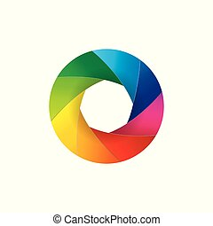 Colorful camera lens shutter aperture illustration