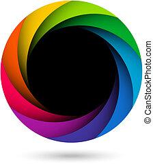 Colorful camera shutter aperture illustration