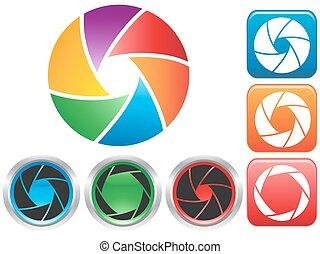 colorful Camera shutter aperture symbol