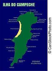 Colorful Campeche Island Map, Brazil.