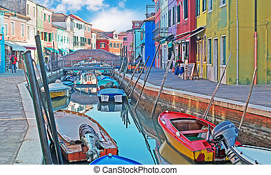 colorful canal in Burano