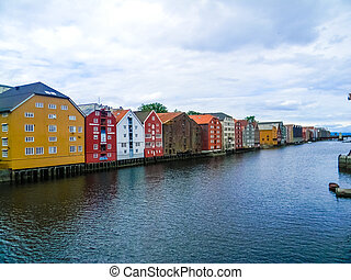 Colorful canal of Trondheim, Norway