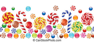 colorful candies, fruit bonbon, lollipop seamless horizontal background