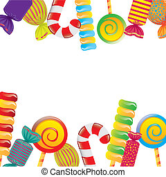 candies - colorful candies over white background. vector ...