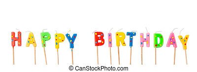 Colorful candles in letters saying Happy Birthday,