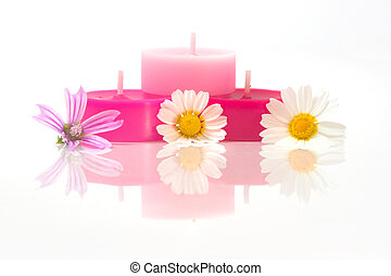 Colorful candles with flowes