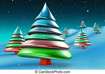 Colorful candy abstract christmas tree greeting concept