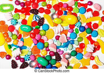 Colorful candy background isolated on white
