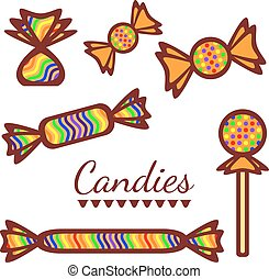 Colorful candy collection vector