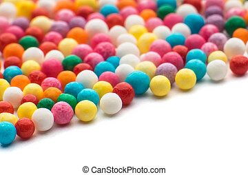 Colorful candy confetti on the whit