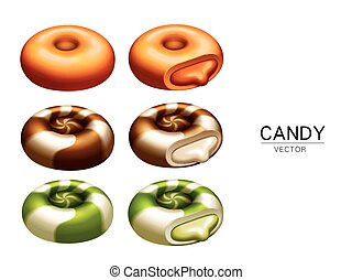 colorful candy elements and creamy stuffings, isolated white...