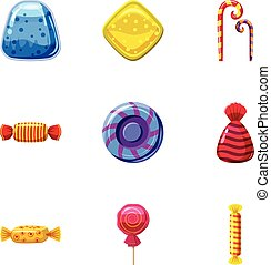 Colorful candy icons set, cartoon style