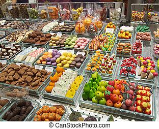 Colorful candy in the Barcelona La Boqueria Market