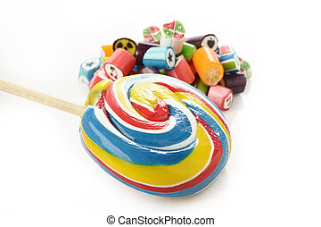 colorful candy on white