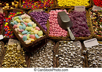 Colorful candy at the market of Boqueria in Barcelona,...