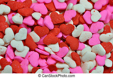 Colorful candy valentine hearts