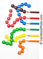Colorful candys and penciles - Colorful sweets and pencils...