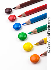 Colorful candys and penciles - Colorful pencils with candys...