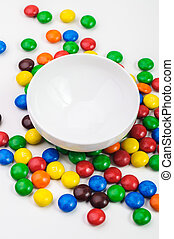 Colorful candys on white background. - Colorful candys over...