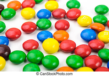 Colorful candys over white background. close-up image