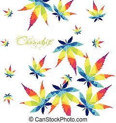 Colorful Cannabis leaf background