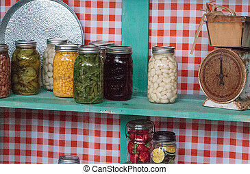 Colorful canned vegetables and fruits