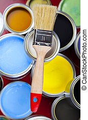 Colorful cans & paints - Cans and paint on the colourful...