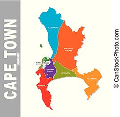 Colorful cape town suburb vector map