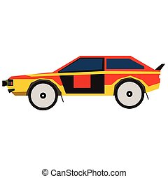 Colorful car flat illustration on white