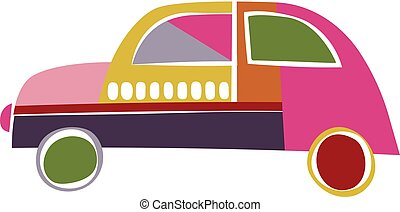 Colorful car isolated on white background