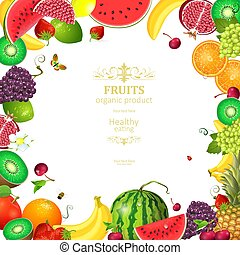 colorful card with frame of fresh fruits and berries for your de