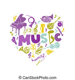 Colorful Card with Music Instruments - hand drawn in vector