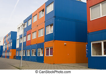 colorful cargo containers used as houses - colorful cargo...